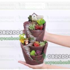 Chậu trồng cây cảnh mini 2 tầng