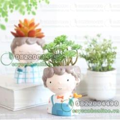 Chậu trồng cây composite hình đầu người