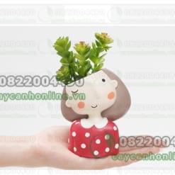 Chậu hình cô gái trồng cây sen đá mini cẩm nhung