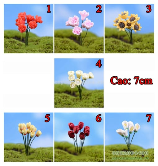 Các loại hoa giả trang trí tiểu cảnh sân vườn hồ cá